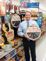 George Davison with Davison Produced Product Invention The Perfect Pizza Pan in the store it's selling in