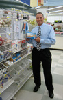 George Davison with product invention Better Bobbin in the store