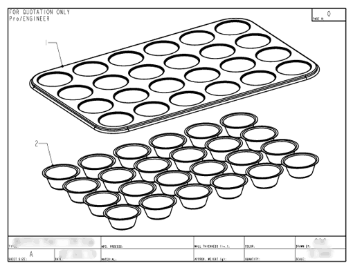 Muffin Pan Drawing Engineering Drawing 1