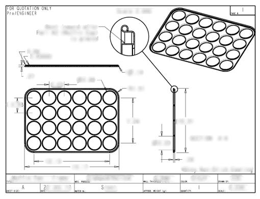 Muffin Pan Drawing Engineering Drawing 2
