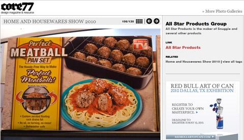 Meatball Baker featured on design super-site Core77