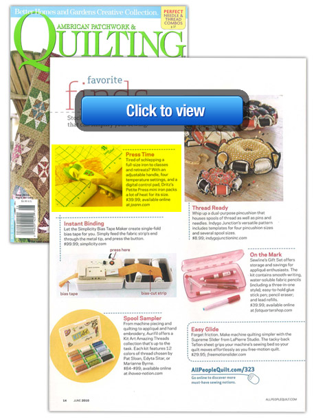Petite Press featured in American Patchwork & Quilting magazine!