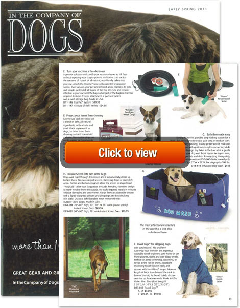Hugs products featured in catalog for pampered pooches!