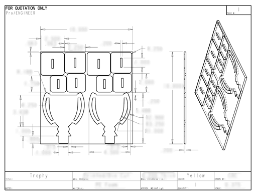 Product Engineering Drawings for Davison Produced Product Invention FoamWorx Trophy Puzzle