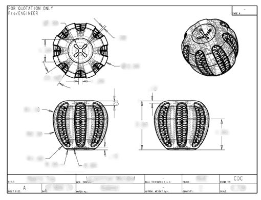 Product Engineering Drawings for Davison Produced Product Invention Chew Core
