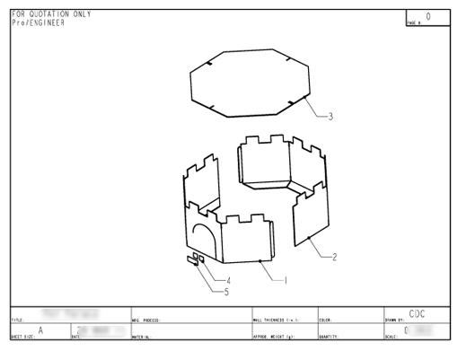 Product Engineering Drawings for Davison Produced Product Invention Pet Palace