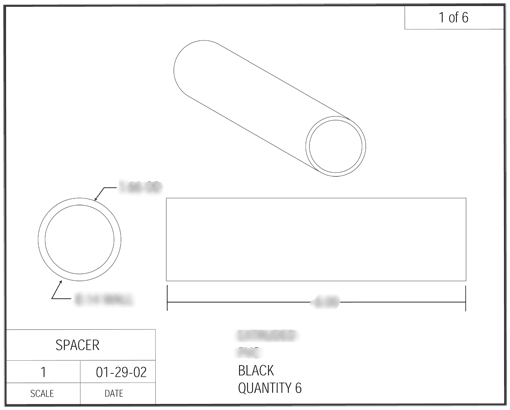 Product Engineering Drawings for Davison Produced Product Invention Street Stik
