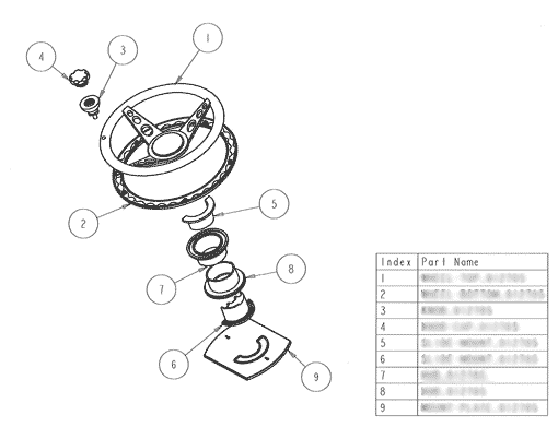 Product Engineering Drawings for Davison Produced Product Invention Steering Reel Cord Storage