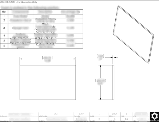 Product Engineering Drawings for Davison Produced Product Invention Chilly Mat