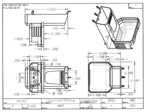 Product Engineering Drawings for Davison Produced Product Invention Tape Measure Holder