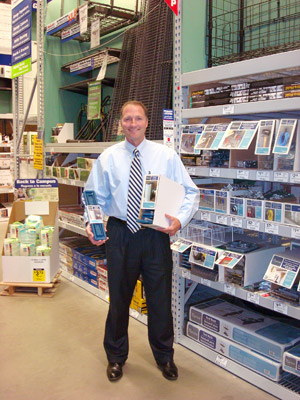 Mr. Davison (aka Mr. D) with the product on the store shelf: