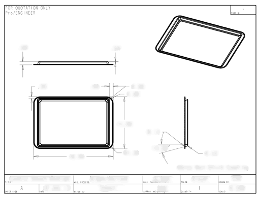 Product Engineering Drawings for Davison Produced Product Invention Medium Cookie Sheet – Mrs. Fields