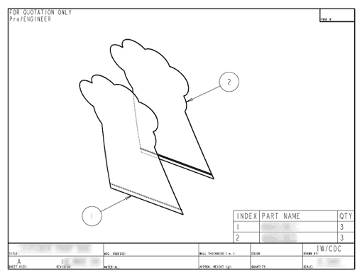 Product Engineering Drawings for Davison Produced Product Invention Potty Paws