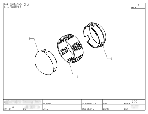 Product Engineering Drawings for Davison Produced Product Invention Purrfect Ball