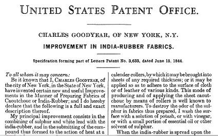 Charles Goodyear Patent Image