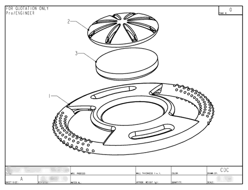 Product Engineering Drawings for Davison Produced Product Invention Hydro Saucer