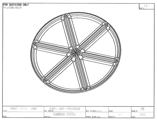 Product Engineering Drawings for Davison Produced Product Invention The Perfect Pizza Pan
