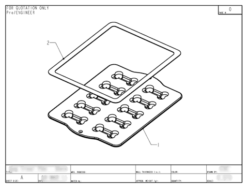 Product Engineering Drawings for Davison Produced Product Invention Silicone Dog Treat Pan