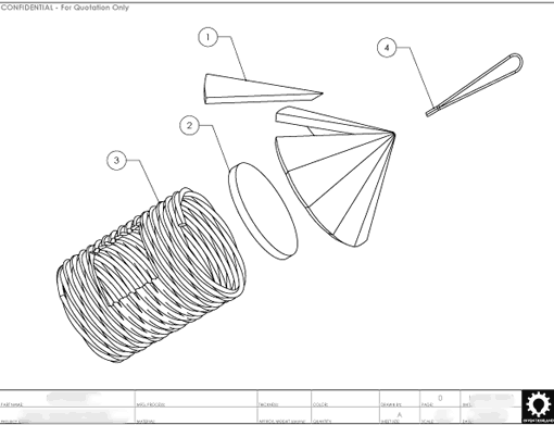 Product Engineering Drawings for Davison Produced Product Invention Grass Twine Bird Feeder