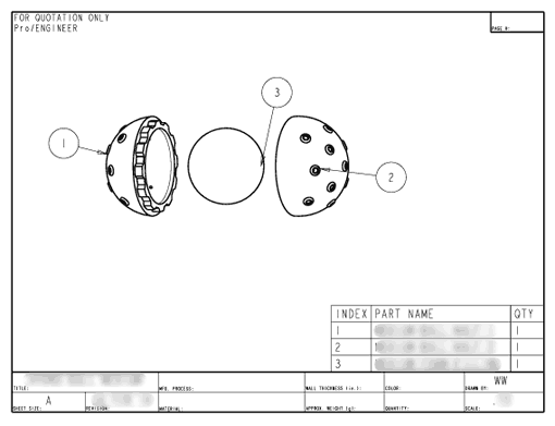 Product Engineering Drawings for Davison Produced Product Invention Hydro Ball