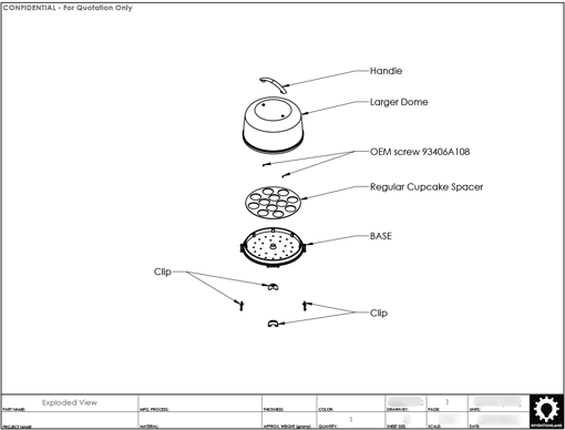 Product Engineering Drawings for Davison Produced Product Invention David Tutera Dessert Carrier Cupcake Insert