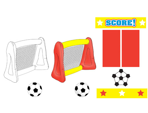 Product Engineering Drawings for Davison Produced Product Invention Stats Inflatable Soccer Goal