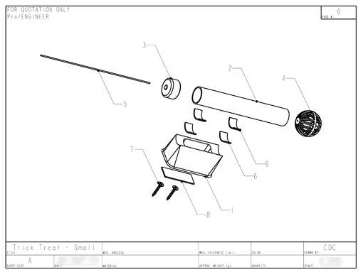 Product Engineering Drawings for Davison Produced Product Invention Trick Treat