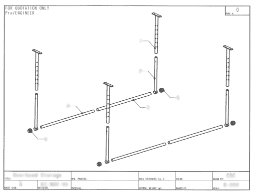 Product Engineering Drawings for Davison Produced Product Invention Adjustable Overhead Storage System
