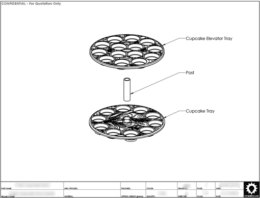 Product Engineering Drawings for Davison Produced Product Invention David Tutera Dessert Carrier 2-Tier Cupcake Insert