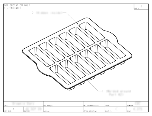 Product Engineering Drawings for Davison Produced Product Invention Silicone Dessert Bar Pan