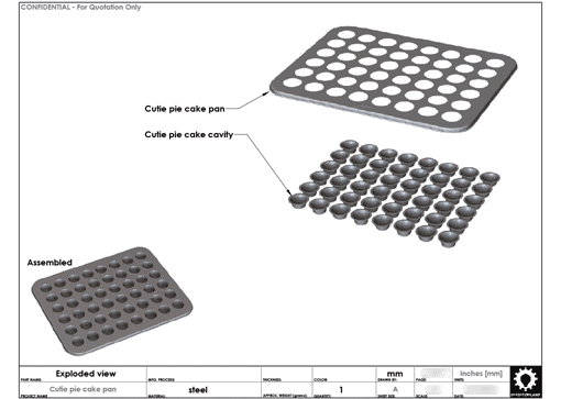 Product Engineering Drawings for Davison Produced Product Invention Cutie Cakes™ Baking Pan – Mrs. Fields