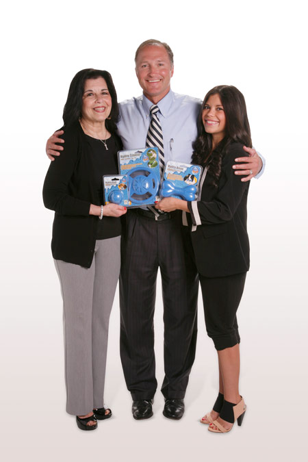 Mr. Davison (aka Mr. D) and the Hydro Toys' inventor (along with her daughter) who dared to invent