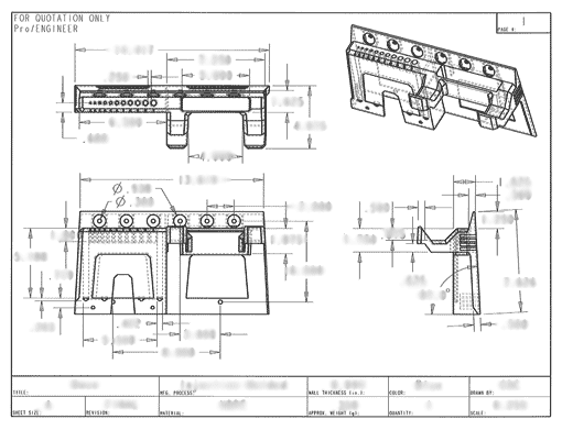 Product Engineering Drawings for Davison Produced Product Invention Pegboard Power Drill Holder
