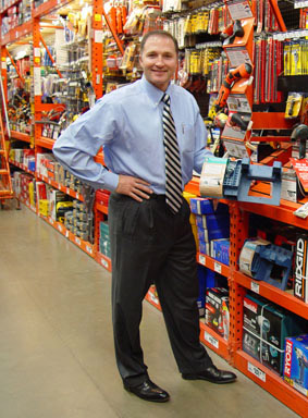 Mr. Davison (aka Mr. D) with the Pegboard Power Drill Holder in the store