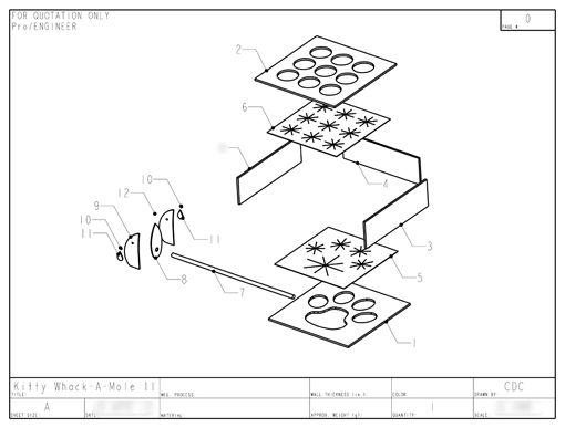 Product Engineering Drawings for Davison Produced Product Invention Whack a Mouse