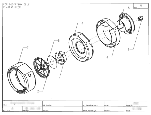 Product Engineering Drawings for Davison Produced Product Invention Mag Reel Retractable Extension Cord