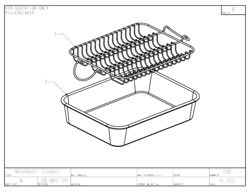 Product Engineering Drawings for Davison Produced Product Invention Meatball Baker