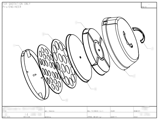 Product Engineering Drawings for Davison Produced Product Invention Party On The Go