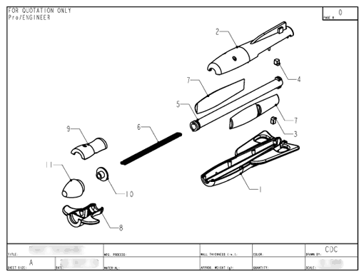 Product Engineering Drawings for Davison Produced Product Invention Water Rocket