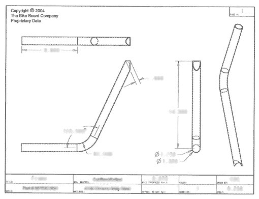 Product Engineering Drawings for Davison Produced Product Invention The BikeBoard – Tyke
