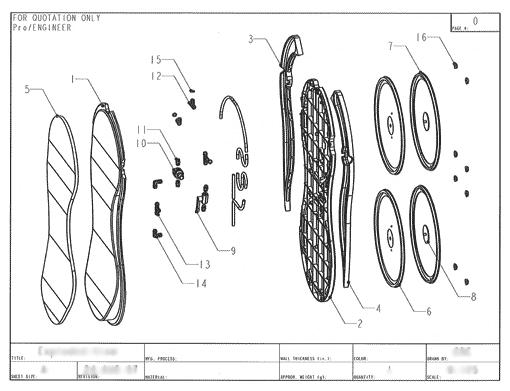 Product Engineering Drawings for Davison Produced Product Invention Hover Creeper