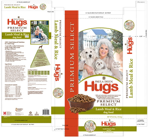 Packaging CAD Drawing for Davison Produced Product Invention Paula Deen® Hugs® Dog Food
