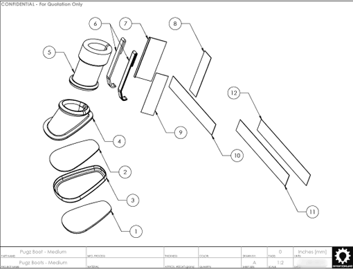 Product Engineering Drawings for Davison Produced Product Invention Pugz Shoes