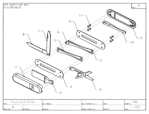 Product Engineering Drawings for Davison Produced Product Invention The Swiss Army Whistle Knife