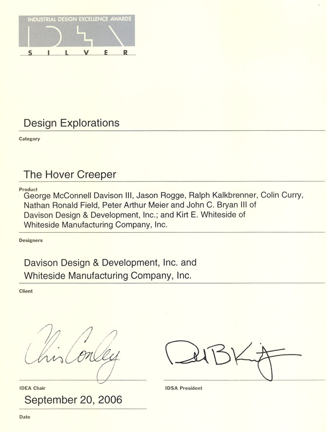 Hover Creeper wins the IDSA Silver