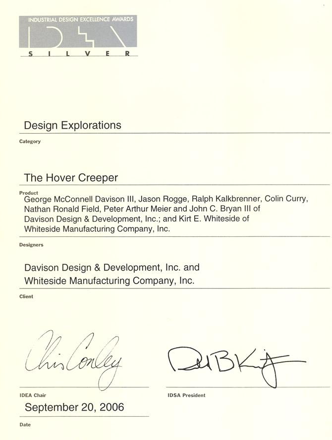 Hover Creeper wins the IDSA Silver