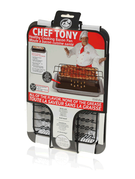 Final Manufactured Product for Davison Produced Product Invention Chef Tony – Bacon Baker