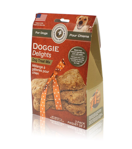 Davison Produced Product Invention: Doggie Delights Dog Treat Mix – Cheddar Cheese