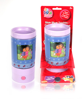 Final Manufactured Product for Davison Produced Product Invention Dora Slideshow Tumbler