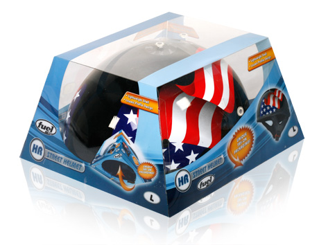 Davison Produced Product Invention: Fuel Helmet Packaging (Stars and Stripes)